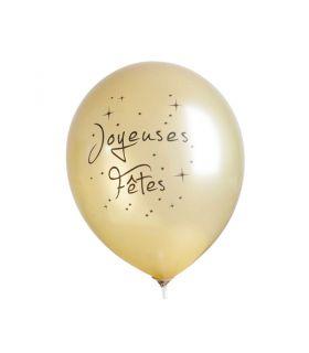 """10 Ballons 30cm Or """"Joyeuses Fêtes"""" Graine Créative"""
