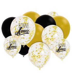 """Assortiment 12 Ballons 30cm Noir & Blanc &Or """"Bonne Année"""" + Confettis Graine Créative"""