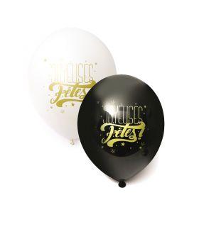 """Assortiment 6 Ballons Noir & Blanc """"Joyeuses Fêtes"""" Graine Créative"""
