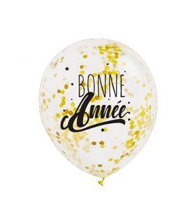 """3 Ballons 30cm Confettis Or """"Bonne Année"""" Graine Créative"""