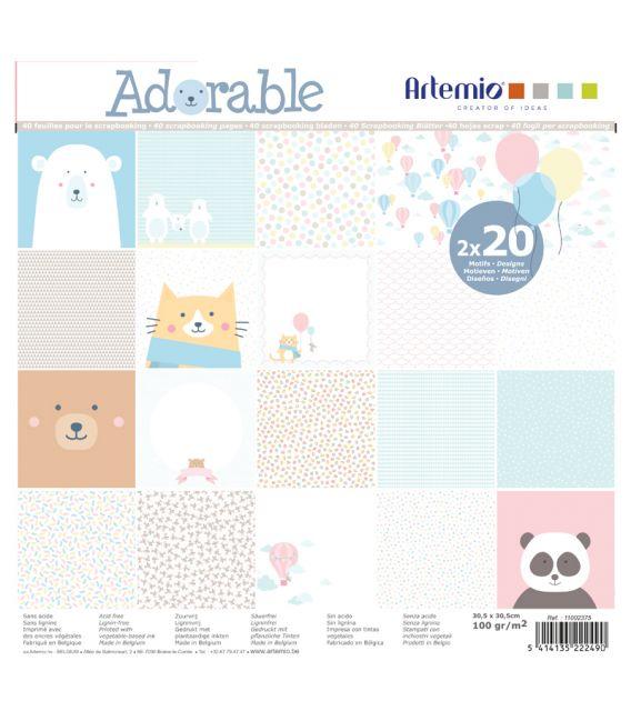 Bloc de papier scrapbooking Adorable 40p 30x30cm Artémio