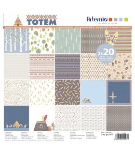 Bloc de papier scrapbooking Totem 40p 30x30cm Artémio