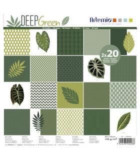 Bloc de papier scrapbooking Deep green 40p 30x30cm Artémio