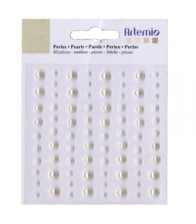 Perles adhésives couleur ivoire 80pcs Artémio