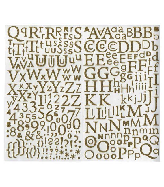 Stickers Alphabet pailleté or Artémio