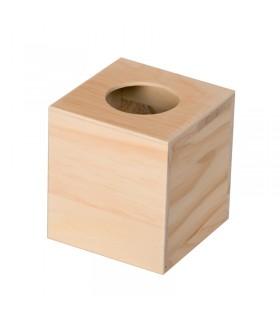 Boite à mouchoire carrée en bois Artémio