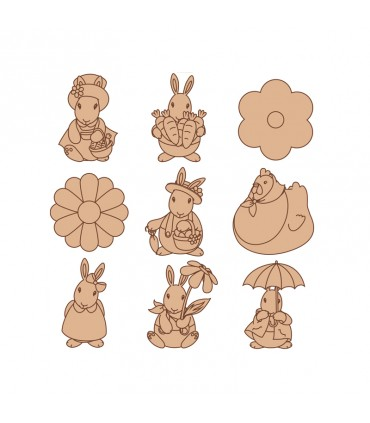 Mini silhouettes Pâques Lapins Artémio