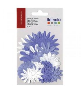 Fleurs en papier mauve 24pcs Artémio