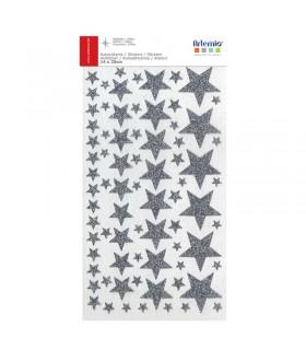 Stickers Étoiles argent Pailletées Artémio
