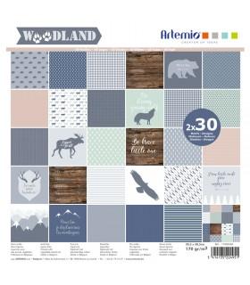 Bloc de papier scrapbooking Woodland 60p 30x30cm Artémio