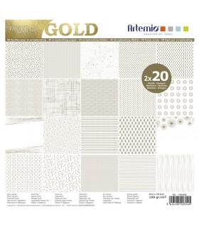 Bloc de papier scrapbooking Foil Or 40p 30x30cm Artémio