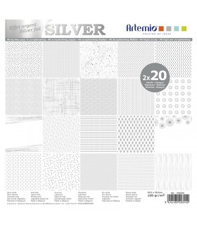 Bloc de papier scrapbooking Foil Argent 40p 30x30cm Artémio