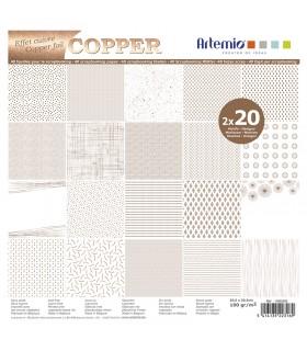 Bloc de papier scrapbooking Foil Cuivre 40p 30x30cm Artémio