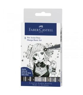 Boite de 8 feutres Pitt Artist Pen Manga Faber-Castell