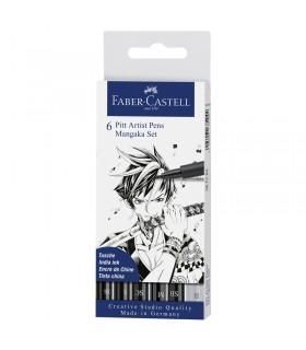 Boite de 6 feutres Pitt Artist Pen Mangaka Faber-Castell