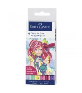 Boite de 6 feutres Pitt Artist Pen Manga Shojo Faber-Castell