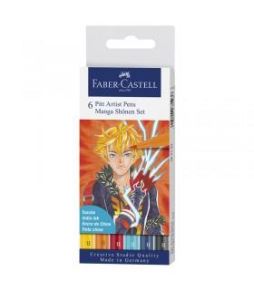Boite de 6 feutres Pitt Artist Pen Manga Shônen Faber-Castell