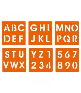 6 pochoirs pour enfants alphabet & chiffres