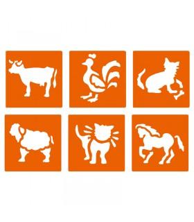 6 pochoirs pour enfants Animaux de la fermes Graine créative