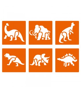 6 pochoirs pour enfants Animaux préhistorique Graine créative