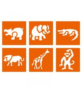 6 pochoirs pour enfants Animaux de la Jungle Graine créative