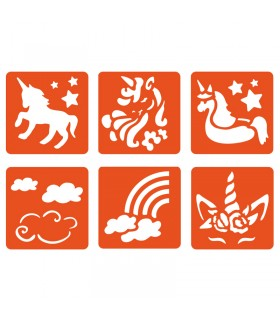 6 pochoirs pour enfants Licorne Graine créative