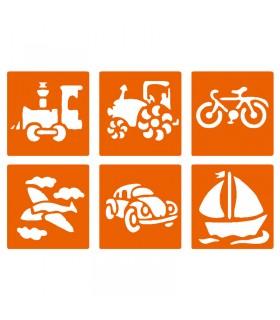 6 pochoirs pour enfants Transports Graine créative