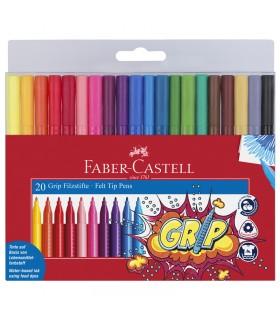20 Feutres GRIP Colour pochette Faber Castell