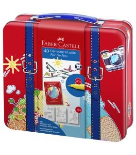 Valise 40 feutres Connector+livret Faber Castell
