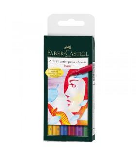 6 Feutres Pitt Art Pen Couleur de Base Faber-Castell