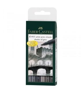 6 feutres Pitt Artist Pen nuances de gris Faber-Castell