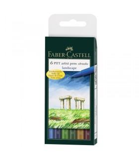 6 feutres Pitt Artist Pen Couleurs de paysage Faber-Castell