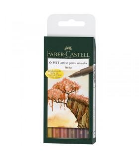 6 feutres Pitt Artist Pen Couleurs terre Faber-Castell