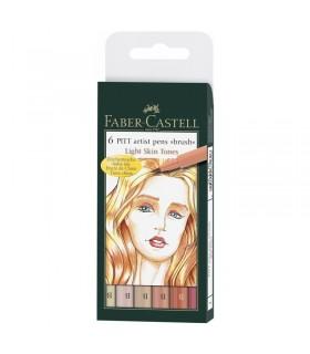 6 feutres Pitt Artist Pen Couleurs Chairs Faber-Castell