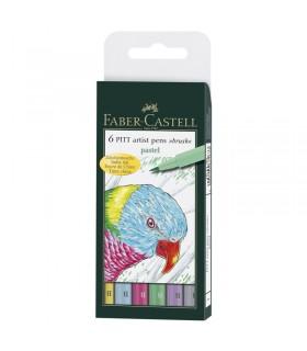 6 feutres Pitt Artist Pen Couleurs Pastel Faber-Castell