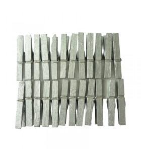 24 pinces à linge argentées 30mm Graine créative