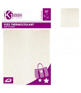 Flex Thermocollant Pailleté 15x20cm Blanc holo Graine créative