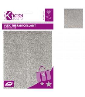 Flex Thermocollant Pailleté 15x20cm Argent Graine créative