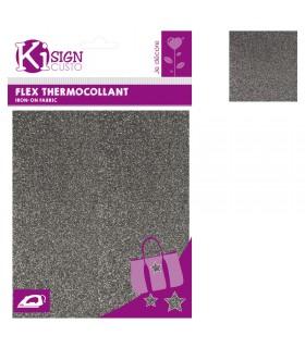 Flex Thermocollant Pailleté 15x20cm Gris anthracite Graine créative