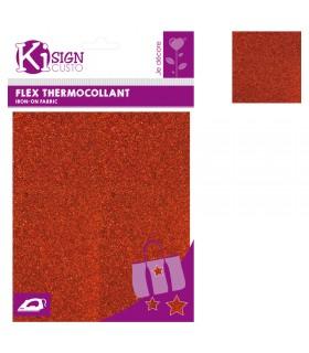 Flex Thermocollant Pailleté 15x20cm Orange Graine créative
