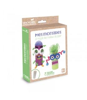 """Kit Atelier Recyclage """"Mes monstres en rouleaux de papier"""" Graine créative"""