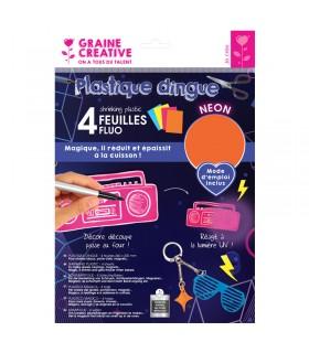 Plastique dingue Fluo 4 feuilles 26.2x20.2cm Graine créative