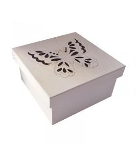 Boîte carrée en bois avec couvercle papillon Graine Créative