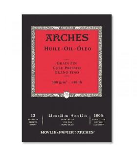 Bloc 12 Feuilles Arches Huile 23x31cm 300g Blanc Canson
