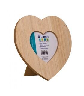 Cadre photo cœur en bois 17.5x17.5cm Artémio