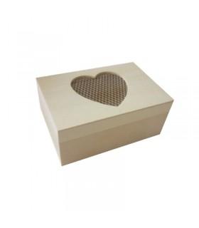 Boite rectangulaire en bois Cœur grillage 12 cm