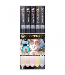 Marqueurs Chameleon Set 5 feutres Tons Pastels
