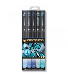 Marqueurs Chameleon Set 5 feutres Tons Bleu