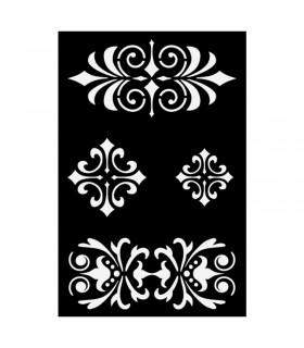 Pochoir Adhésif 12x18cm Galons baroques