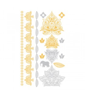 Tatouages temporaires Tattoo Chic Elephants Or/Argent